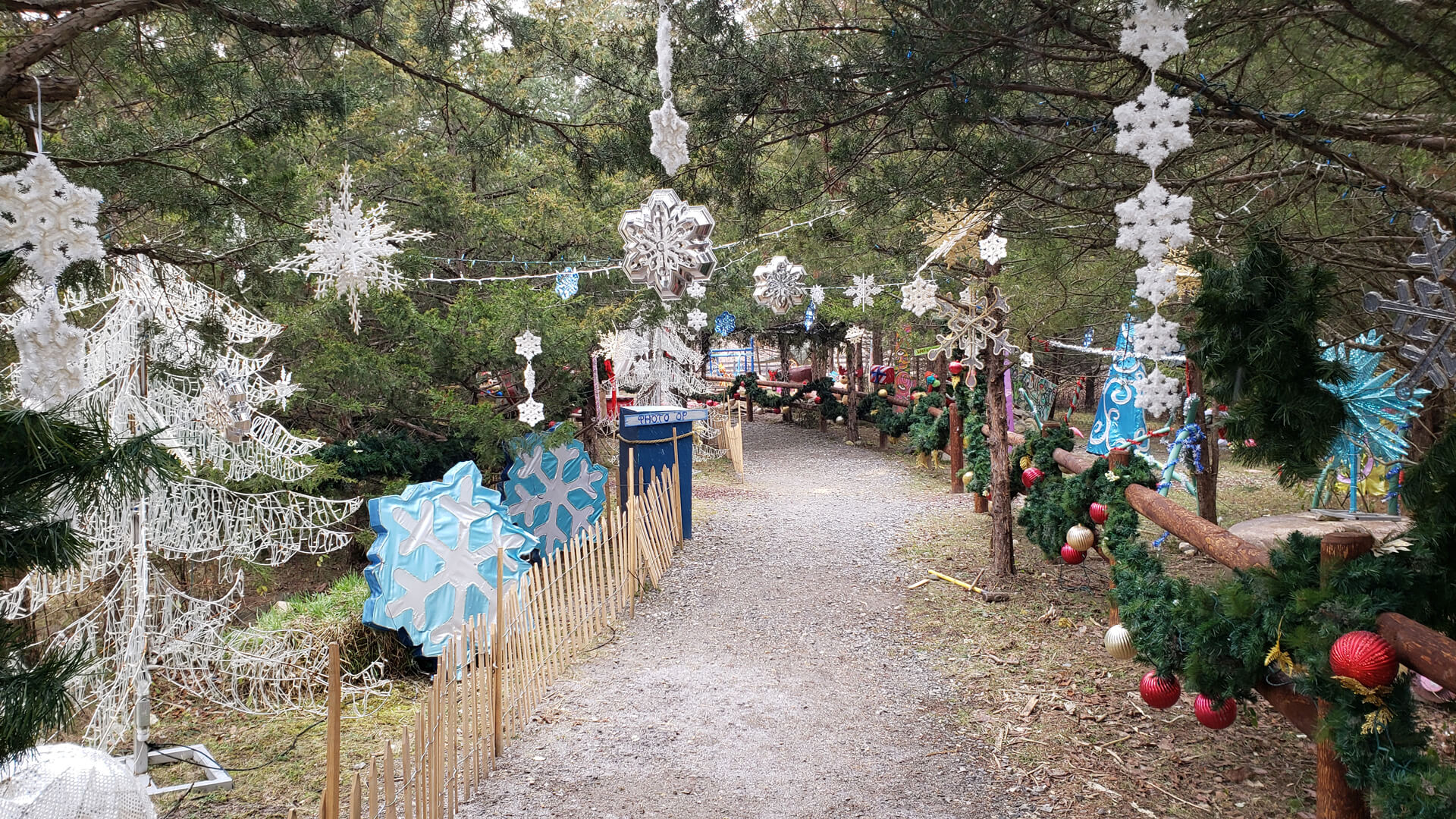 A wide path through the forest lined with myriad holiday decorations, such as garlands and hanging snowflakes