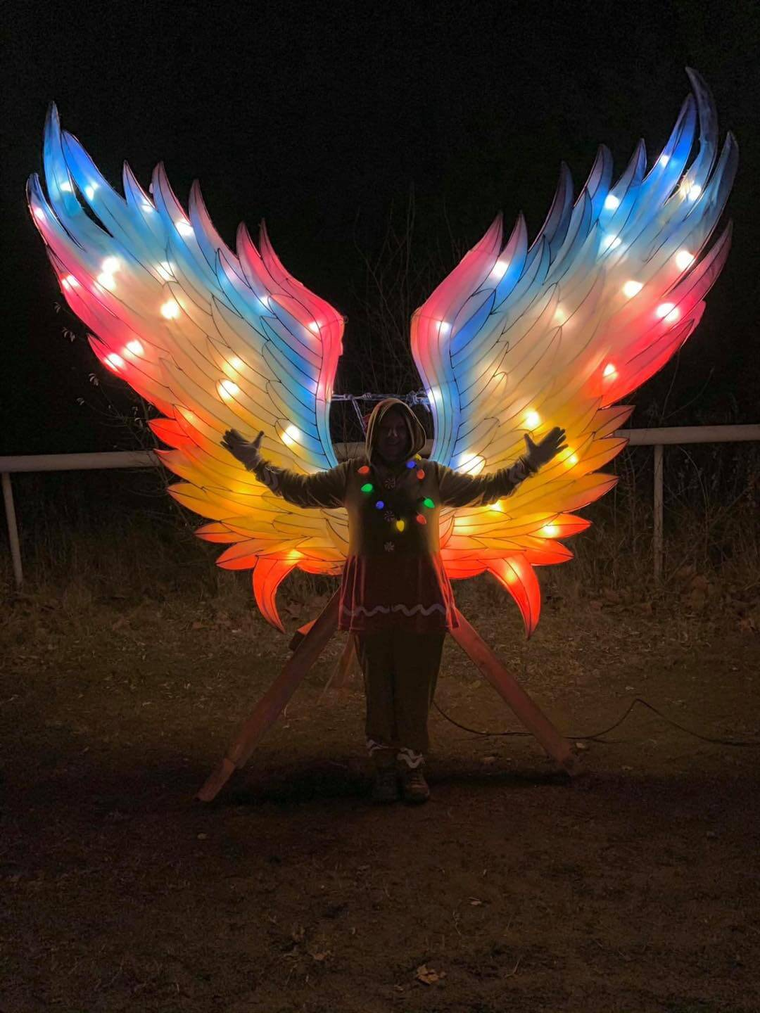 A woman standing in front of a pair of large, colorfully lit-up wings at night for a photo op